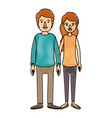 color crayon stripe cartoon full body couple in vector image vector image