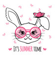 cute bunny with glasses and butterfly isolated on vector image vector image