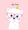 cute cartoon cat princess vector image