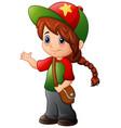 cute girl wearing a cap vector image
