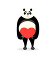 cute panda holding a heart vector image vector image