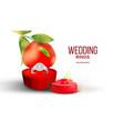 diamond wedding ring in shape of heart box vector image vector image