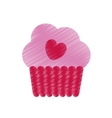 drawing pink cup cake heart tasty celebration vector image