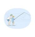 fishing on lake concept vector image