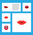 flat icon mouth set of pomade lips kiss and vector image