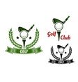 Golf club emblems with first stroke from tee vector image vector image