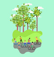 group of people on bicycle in the park vector image