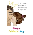 Hand drawn card for fathers day from daughter vector image vector image