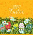 happy easter greeting card banner eggs in grass vector image vector image