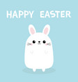happy easter white bunny rabbit funny head face vector image vector image