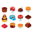 isometric cakes chocolate cake slice delicious vector image