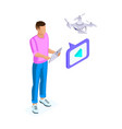 isometric of a young man shoots video with drone vector image