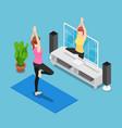 isometric woman training yoga follow coach in vector image