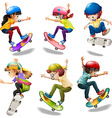 Male and female skaters vector image