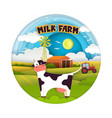 milk farm in modern paper art vector image vector image