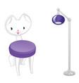 original designer cat-chair and lamp vector image vector image
