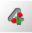 paper cut number 4 with poppy flowers vector image