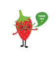 red strawberry character saying thank you vector image vector image