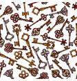 seamless pattern of sketch vintage keys vector image vector image