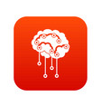 sensors on human brain icon digital red vector image vector image