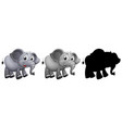 set of elephant character vector image