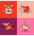 set valentine day card colors style vector image