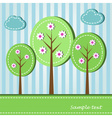 spring blooming trees dashed style vector image