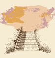 stairs in a park or garden hand drawing grunge vector image vector image