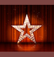 star retro light banner on red curtains vector image vector image