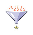 visitors enter the sales funnel internet vector image