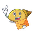 with envelope mollusk shell character cartoon vector image