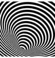 wormhole optical illusion geometric background vector image vector image