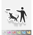 realistic design element playing with a dog vector image