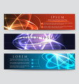 glowing banner set with light effects vector image