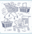 set icons carts and baskets and the inscription vector image