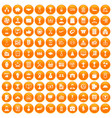 100 business career icons set orange vector image vector image