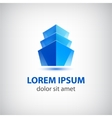 3d blue office building icon logo vector image