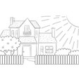 a coloring bookpage a cute house with treebushes vector image