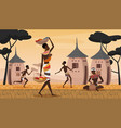 african village landscape scene young woman vector image vector image