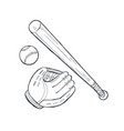 baseball accessories sketch vector image vector image