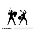 black silhouette of knight battle vector image