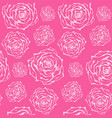 bright pink pattern with white outline roses vector image vector image