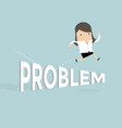 businesswoman jump over the problem vector image