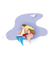 card with boy and girl reading book vector image