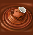 chocolate candy background swirl with coconut vector image vector image