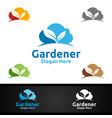 cloud gardener logo with green garden environment vector image vector image