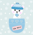 cute bear sitting in a pocket vector image