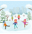 cute children are skating in park vector image vector image