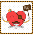 Cute fluffy heart with mustache vector image