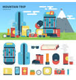 equipment for mountain trip vector image vector image